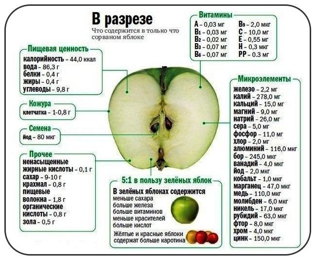 Яблоко гала калорийность на 100 грамм