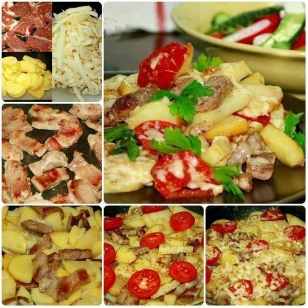 Как приготовить картошку по-французски с мясом в духовке, мультиварке