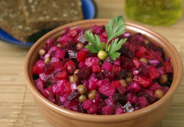 Винегрет с растительным маслом, картошкой, капустой, овощной, фасолью. Калорийность, белки, жиры, углеводы
