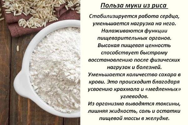 Рисовая мука. Польза и вред, калорийность на 100 грамм. Рецепты выпечки ПП диетические
