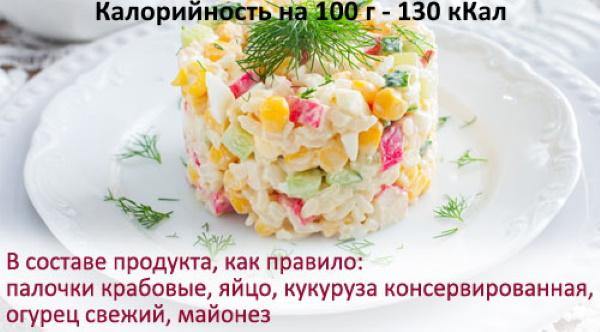 Крабовый салат. Калорийность на 100 грамм с майонезом и без, рисом, сметаной, капустой, бжу. Рецепт с фото